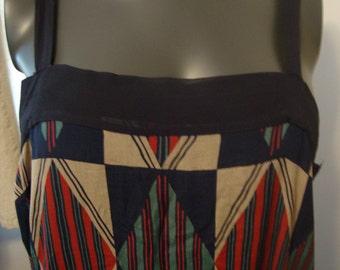 Vintage Silk Art Deco Print Dress