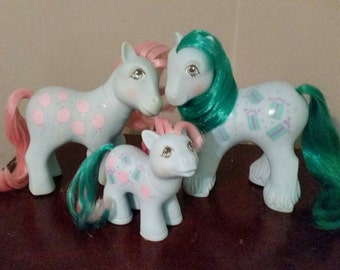 Vintage 1980's My Little Pony - Sweet Celebrations Family