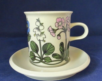 Arabia Finland, Flora,  coffee cup and saucer.