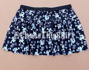 Skull & Crossbones Running Skirt, Halloween Running Skirt, Skulls Running Skirt, Pirate Running Skirt, Jolly Roger Skirt