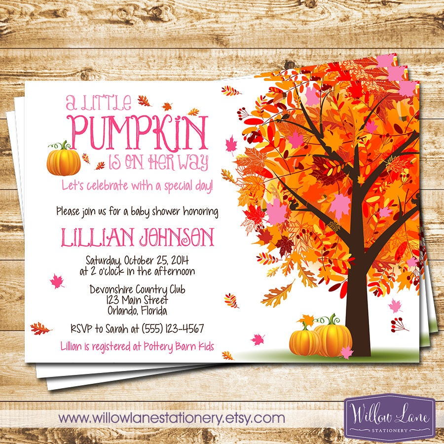 girl little pumpkin baby shower invitation pink autumn fall