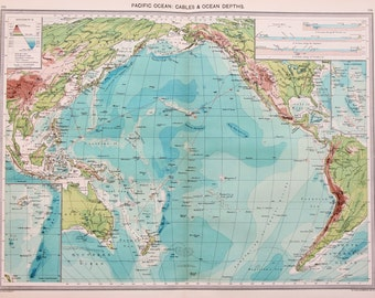 Antique Map : Indian Ocean - Cables & Ocean Depths, Harmsworth c. 1907. Lovely Pastel Colours
