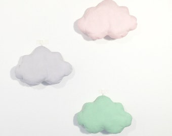 Set of 3 clouds - pink / white / grey