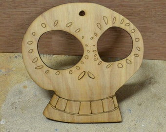 Wood Cut Dia de los Muertos (Day of the Dead) Skulls - Sugar Skulls -- Now with more Smiles!