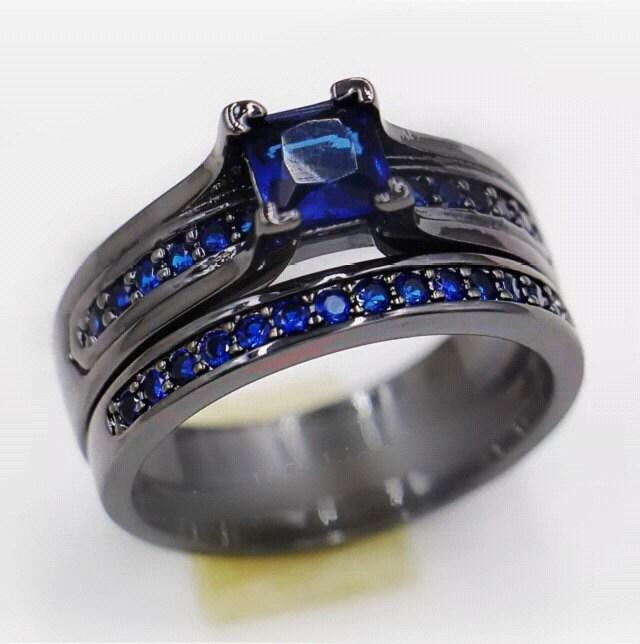 LAST ONE Read shipping info Thin blue Line Wedding Set