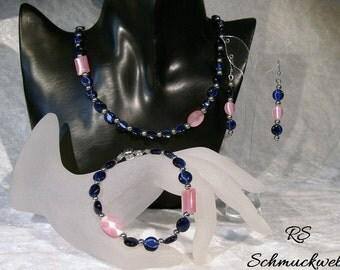 Jewelry set, necklace, bracelet, earrings, dark blue, Midnight blue, rose, pastel, Cateyeperlen, glass beads, elegant, Bridal jewelry