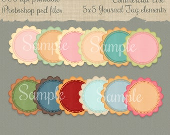 Digital 5x5 psd Journaling Tags Commercial Use Elements