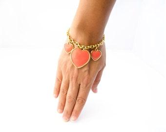 Heart Charm Bracelet, Heart Bracelet, Charm Bracelet,  Friendship Bracelet, Boho Bracelet, Bracelet Gift, Girlfriend Gift, Wife Gift