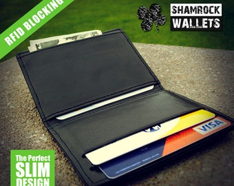 SHAMROCKWALLETS RFID Slim Wallet - Black