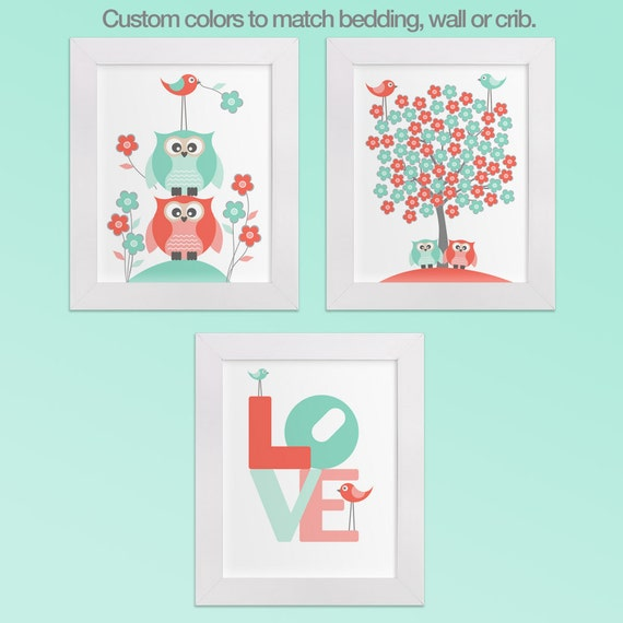 items similar to nursery decor wall prints coral and teal owls tree birds flowers and