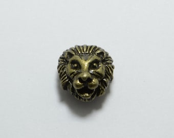 15pcs Lion Head Beads in Antique Bronze, Animal, Zoo, Tiger Beads, Side Drilled Metal Beads #SD-S7735