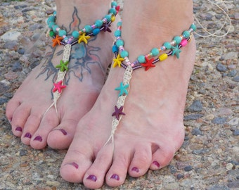 Hemp Barefoot Jewelry, Teen Women, Starfish Beach Jewelry, Colorful, Beaded Anklet, Barefoot Sandals, Hippie Shoes, Toe Thong Foot Accessory