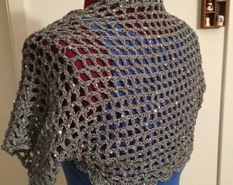 Cotton windowpane sequin Women's shrug, wrap, sweater, bilero, cardigan