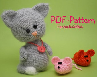 Crochet Pattern Amigurumi Cat Mouse Tutorial Instant Download PDF 13 Pages