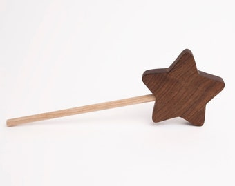 Wooden Star Fairy Princess Wand Toy - All Natural/Organic - Customized - Eco Friendly - Imagination Toy
