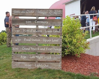 Wedding Timeline Pallet Personalized Sign for Country Wedding - Rustic Wedding Decor