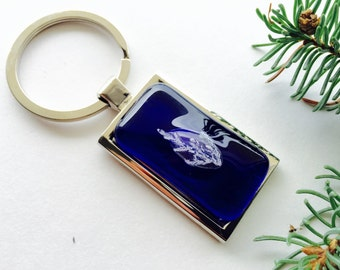 Medium Blue Fused Glass and Silver keychain, Blue Fused Glass keyring, Fossil Glass keychain