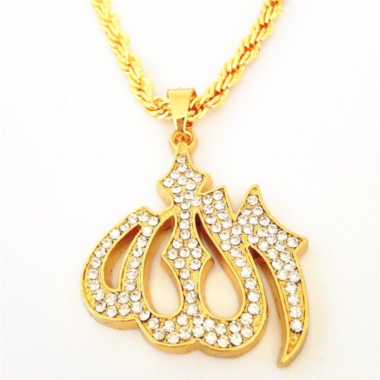 Mens Gold Iced Out Muslim Allah Pendant Necklace Hiphop Cuban