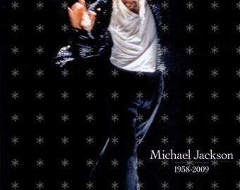 Michael Jackson  Fabric Art Quilt Block MJ17- FREE SHIPPING