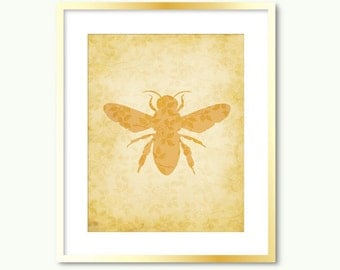 honey bee print download beige mustard brown floral earth tones nature wall art decor poster printable digital print instant download jpg