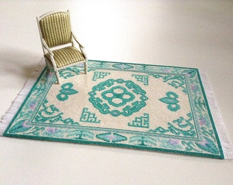 Miniature hand made Chinese carpe/rug, 1/12 scale, Keen Lung, Chinese moth/ dollhouse carpet/ miniature decor/ miniature collectibles/art