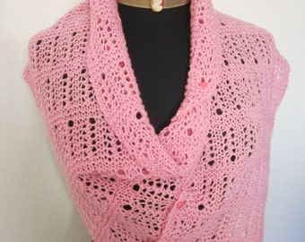 "Womens Elegant Shawl Rose Pink - hand knit with many styling possibilities. Lightweight wool 47"" x 12.5"" it is cool in summer warm in winter"