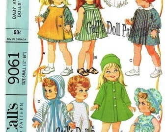 "Copy of Vintage McCall's 9061 Doll Clothes Pattern to Fit 12"" to 16"" Dolls Such as Snugglebun, Baby Sue, Betsy Baby."