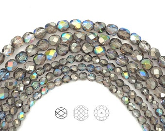 Crystal Graphite Rainbow coated, Czech Fire Polished Round Faceted Glass Beads, 4mm or 6mm on a 16 inch strand, Grey Preciosa Bead
