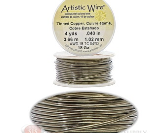 18 Gauge Tinned Copper Artistic Craft Wire 12 Feet 3.65 Meters Jewelry Beading Crafts(Free Shipping USA)