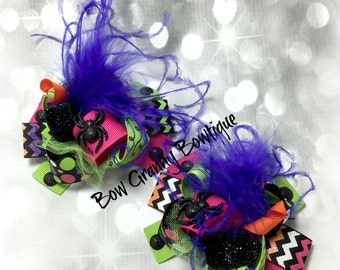 Halloween  Pigtails, Spider Bows, Halloween Bows, Spider Hair Bows, Pig Tail Bows, Piggy Tail Bows, Pig Tail Hair Bows, Over the Top Bows