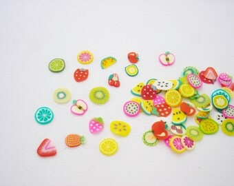 x200 Miniature Fruits Thin Slices, Miniature Fruits for Dollhouses, for jewelry making, scrapbooking, Polymer Clay Mini Fruits ...