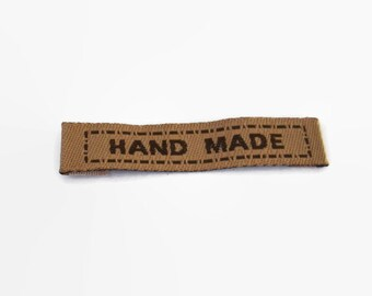x15 Brown Handmade Sewing Labels, Sew on Brown Cotton Labels 45mmx10mm, Linen Labels, *NOT Customizable* REF#BR15HD