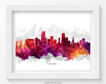 Miami Florida Skyline Poster, Miami Cityscape, Miami Art, Miami Decor, Home Decor, Gift Idea 14