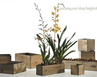 wood vases wood boxes, wooden boxes for centerpieces reception centerpieces planter rustic chic wedding birch bark  wood boxes