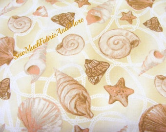 Harbor Point Shells Fabric~by the yd~seashells~ocean~nautical~sand color~fabri-quilt