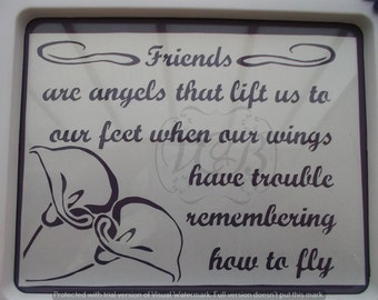 TEMPLATE #321 friends are angels paper cutting template