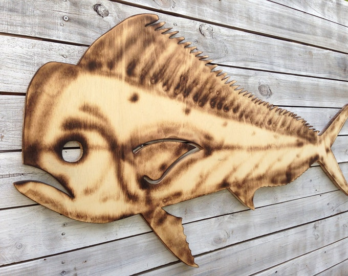 Dolphin Mahi Fish Wood Sign,Tiki Bar Decoration, Man Cave Decor, Patio Wall Art