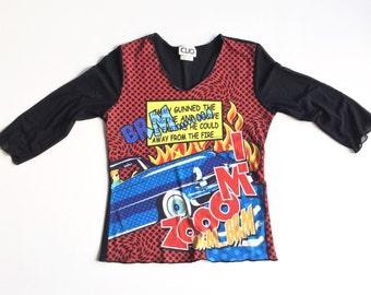 90s Top Unique Black Mesh Comic Book Shirt