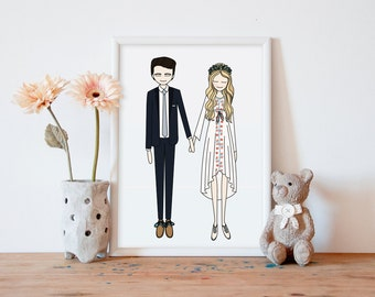 custom wedding portrait, Custom Couple Portrait, personalized anniversary and wedding gift, family portrait, pregnancy gift