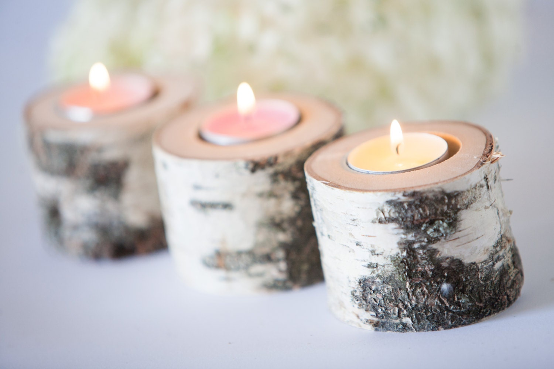 5 birch candle holders log tea light holder woodland for Log candle holder how to make