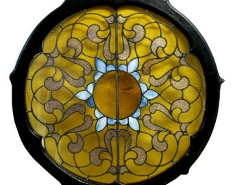 4817A 19th C. Round Antique Stained Glass Window
