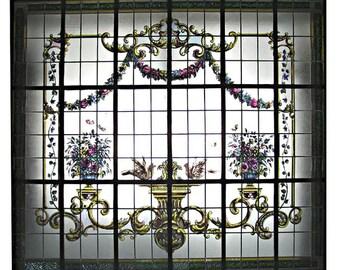 6407 Beautiful Hand Painted & Leaded Glass Window c. 1925