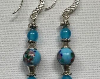 Blue floral Czech bead Earrings