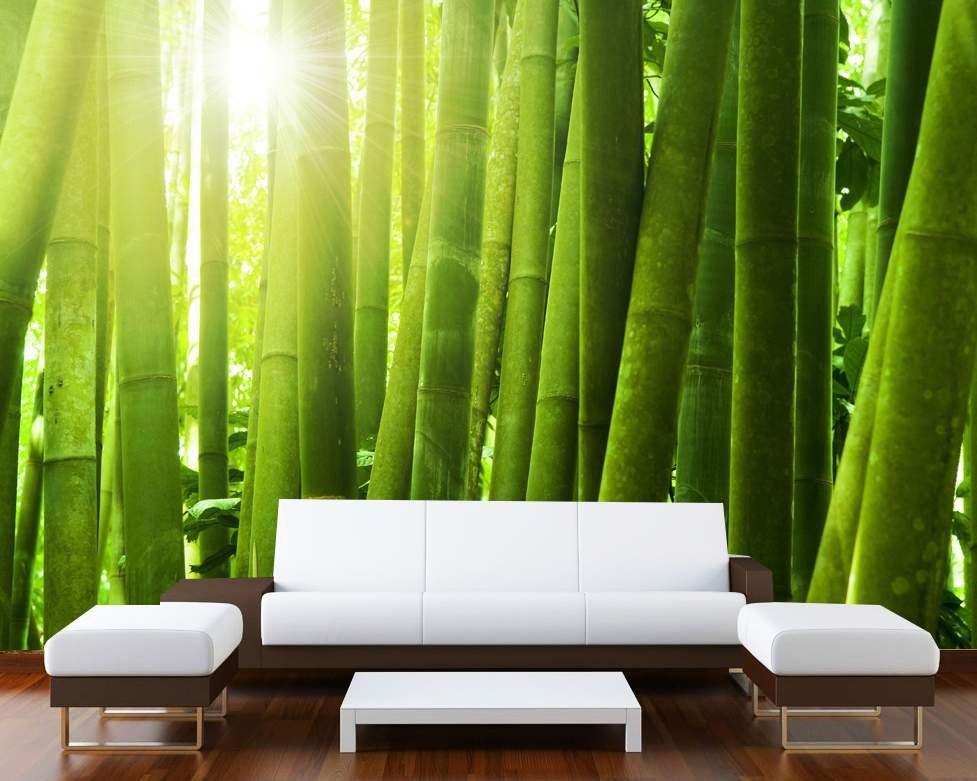 Mural wall art photo decor green bamboo large startonight for Bamboo wall mural