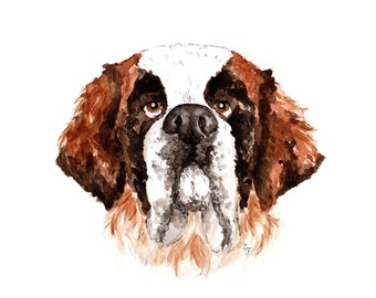 Saint Bernard Watercolor Print 8x10 or11x14