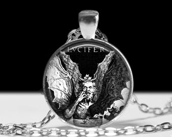Lucifer jewelry, Satan necklace, Devil pendant, Hell fashion accessories, Black Metal girl choker, gothic charm #132