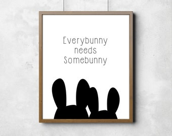 "Wall poster Everybunny Bunny Rabbit Kids Art Digital Art Nursery Room Together Black & White Typography Poster 8"" x 10"""