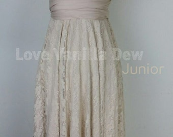 Junior Bridesmaid Dress Infinity Dress Champagne Lace Convertible Dress Multiway Wrap Dress