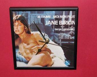 "Jane Birkin & Serge Gainsbourg je t'aime   7"" framed cover clock"