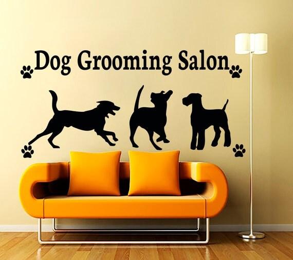 Stickers muraux de chien toilettage salon autocollant par cozydecal - Le salon de toilettage petshop ...